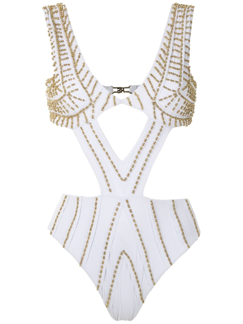 Amir Slama embroidered cut out swimsuit - White von Amir Slama