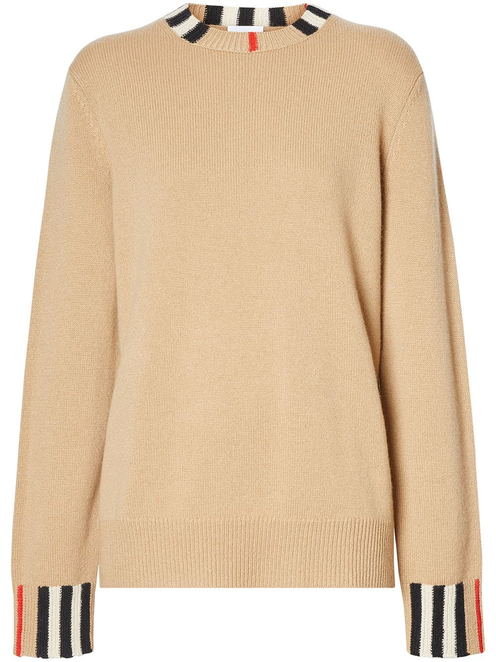 Burberry Icon stripe trim jumper - NEUTRALS von Burberry
