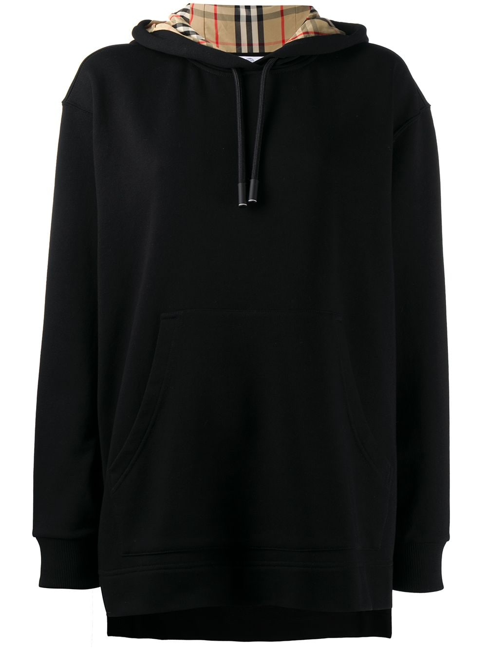 Burberry oversized checked hoodie - Black von Burberry