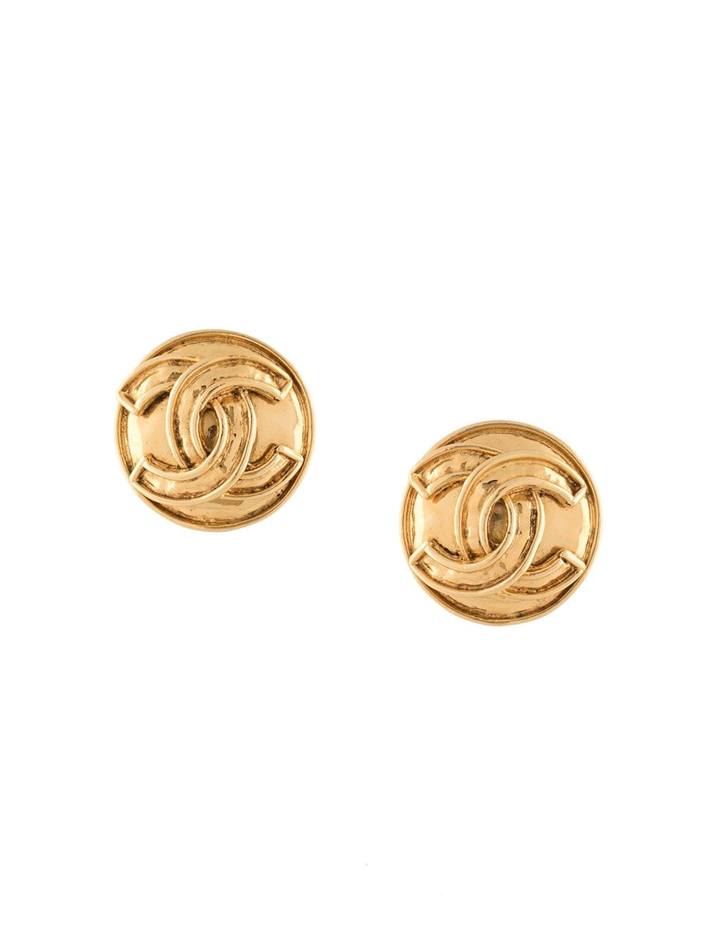 Chanel Pre-Owned 1994 CC button earrings - GOLD von Chanel Pre-Owned