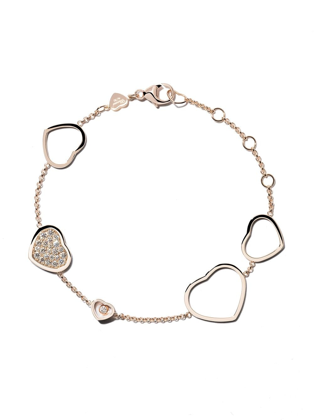 Chopard 18kt rose gold Happy Hearts diamond bracelet von Chopard