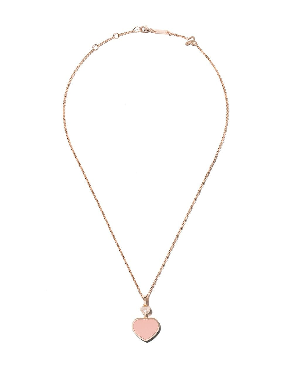 Chopard 18kt rose gold Happy Hearts rosé stone and diamond pendant necklace von Chopard