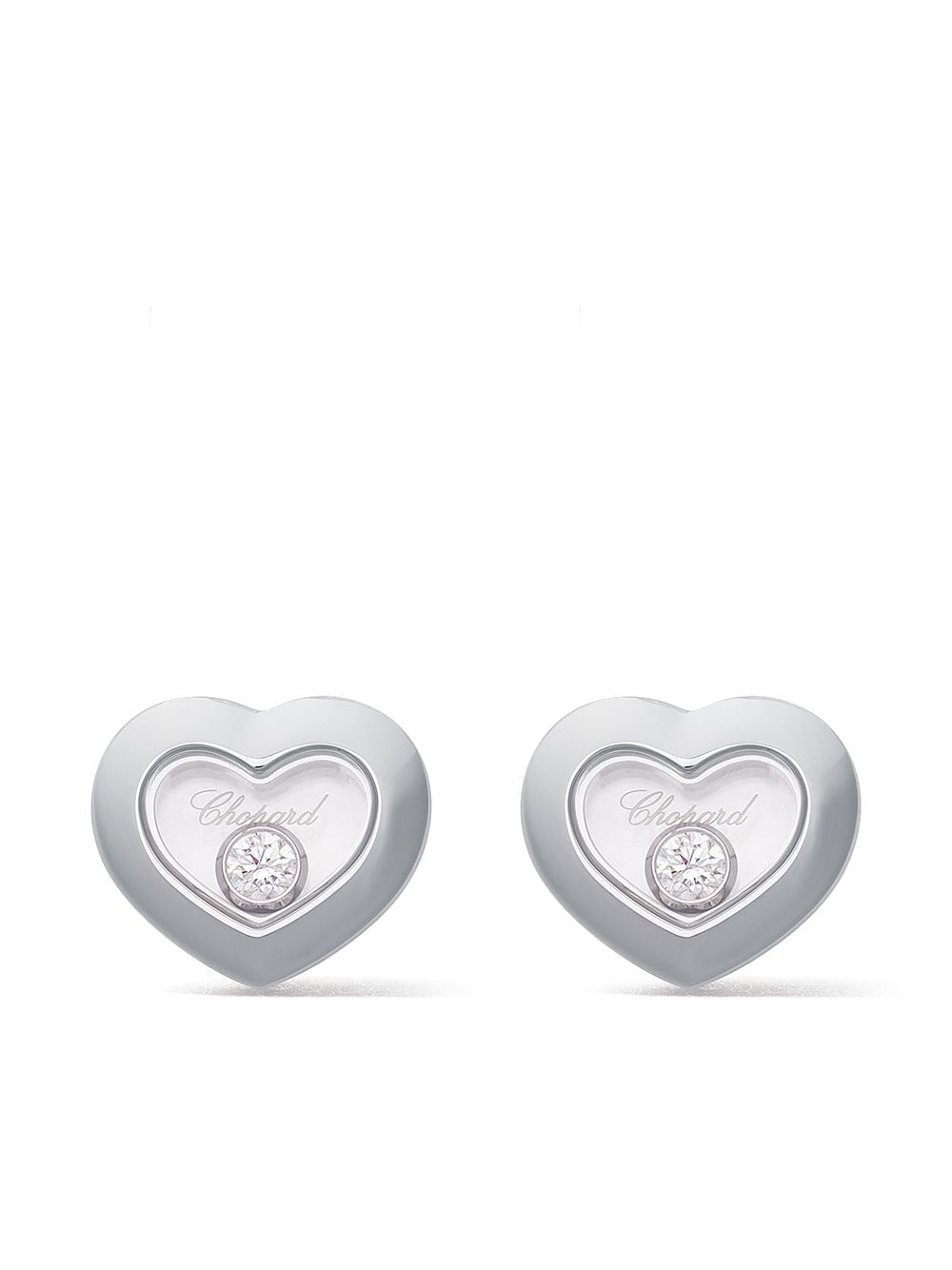 Chopard 18kt white gold Happy Diamonds Icons ear pins von Chopard
