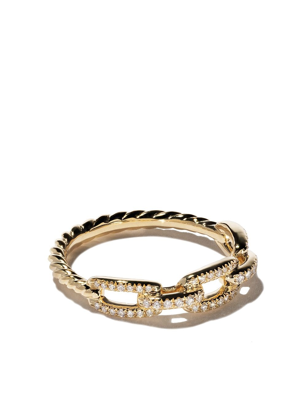 David Yurman 18kt yellow gold Stax single row pavé diamond chain link ring - 88ADI von David Yurman