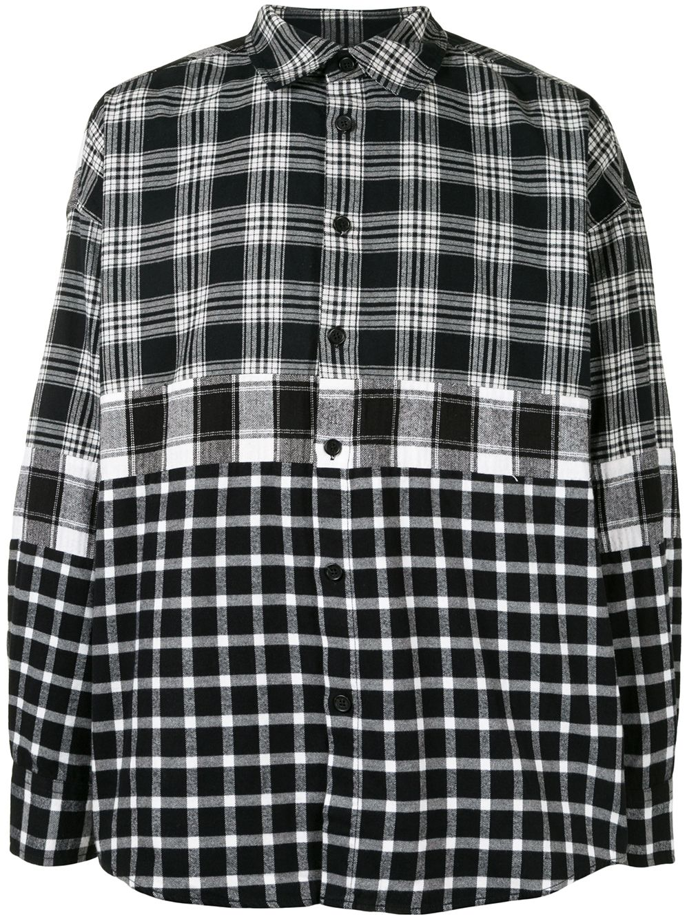 FIVE CM check-pattern long-sleeve shirt - Black von FIVE CM