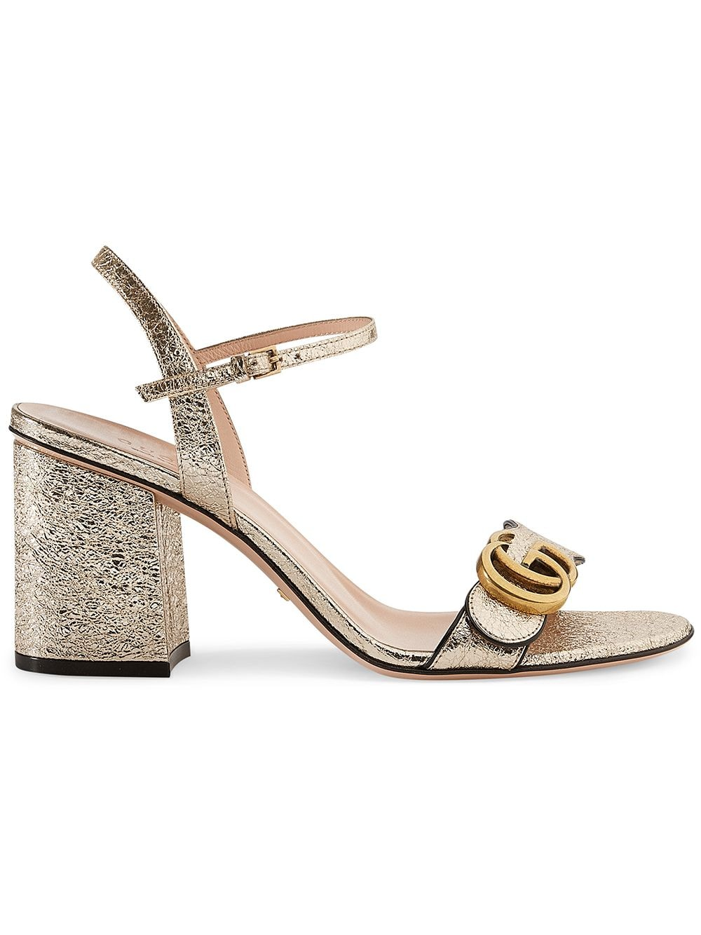 Gucci Metallic laminate leather mid-heel sandal von Gucci
