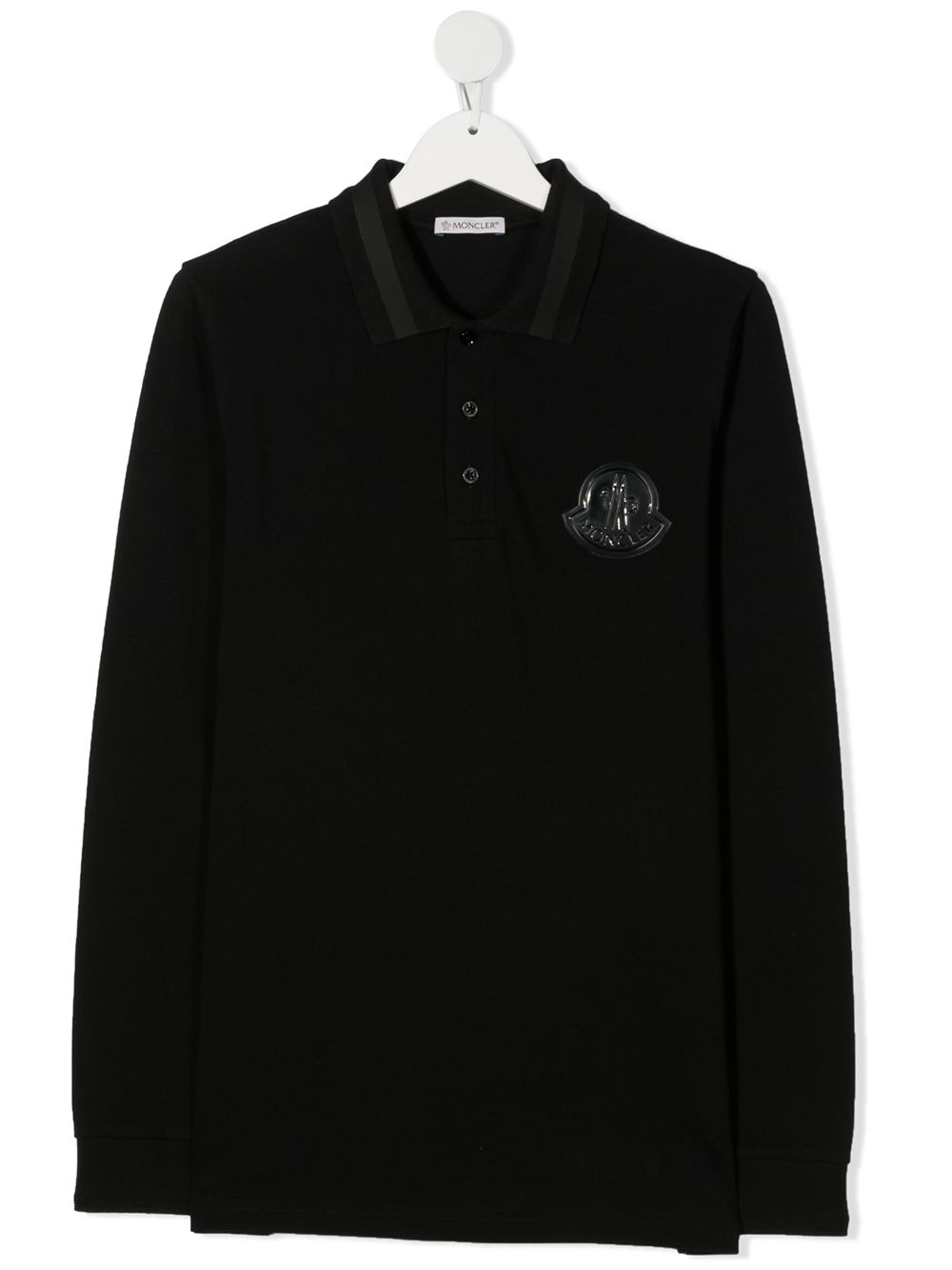 Moncler Enfant fine knit polo shirt - Black von Moncler Enfant