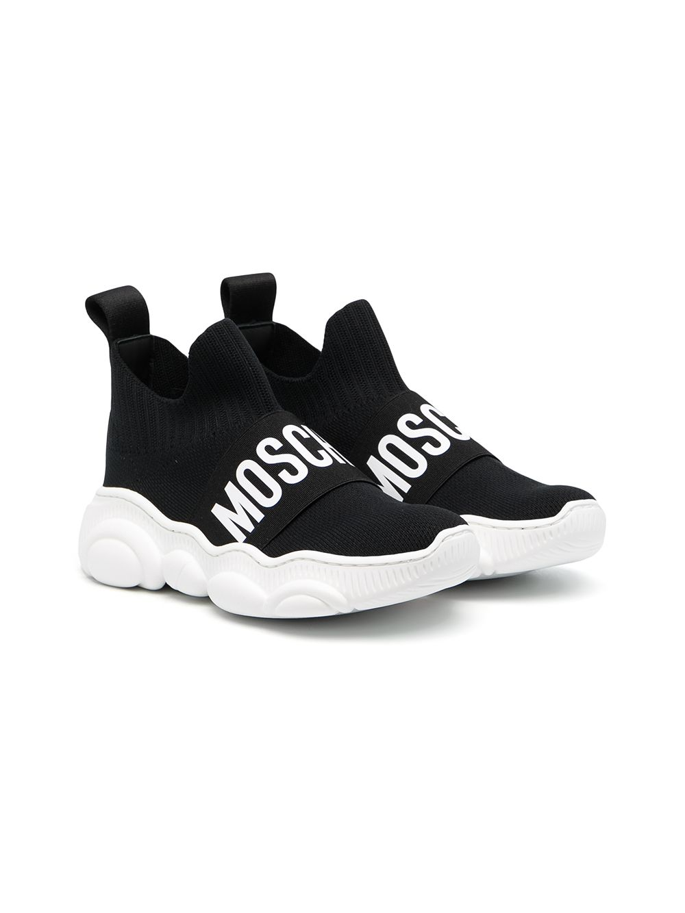 Moschino Kids logo-print hi-top sneakers - Black von Moschino Kids