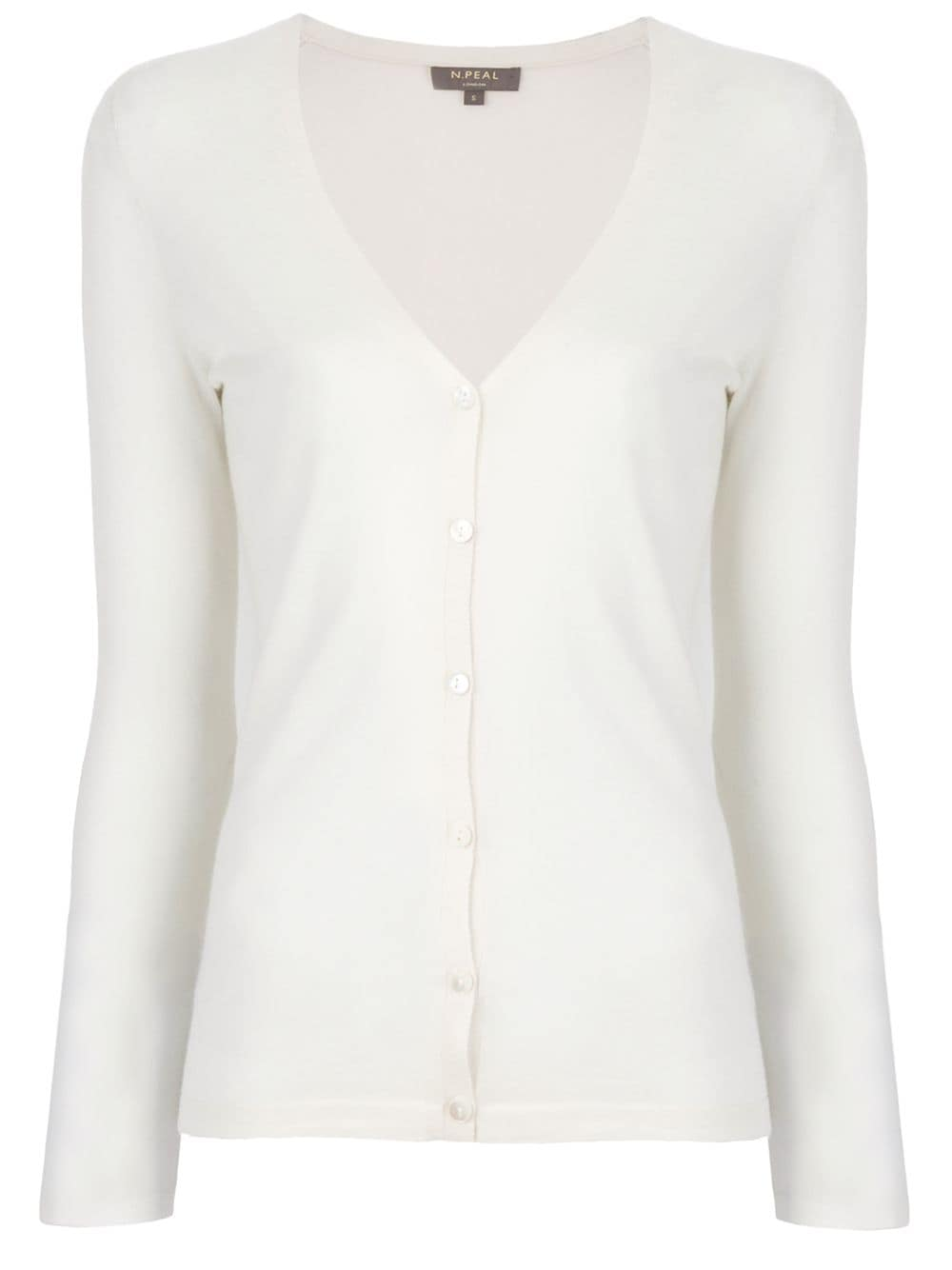 N.Peal superfine V-neck cardigan - White von N.Peal