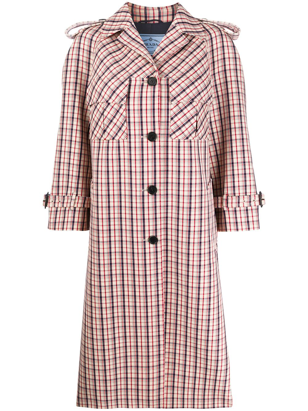 Prada checked trench coat - Red von Prada