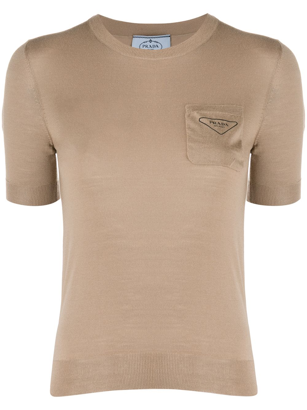 Prada chest pocket crew neck top - Brown von Prada