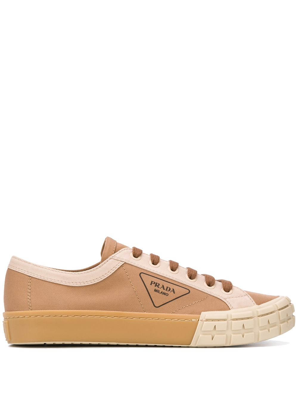 Prada logo lace-up sneakers - Neutrals von Prada