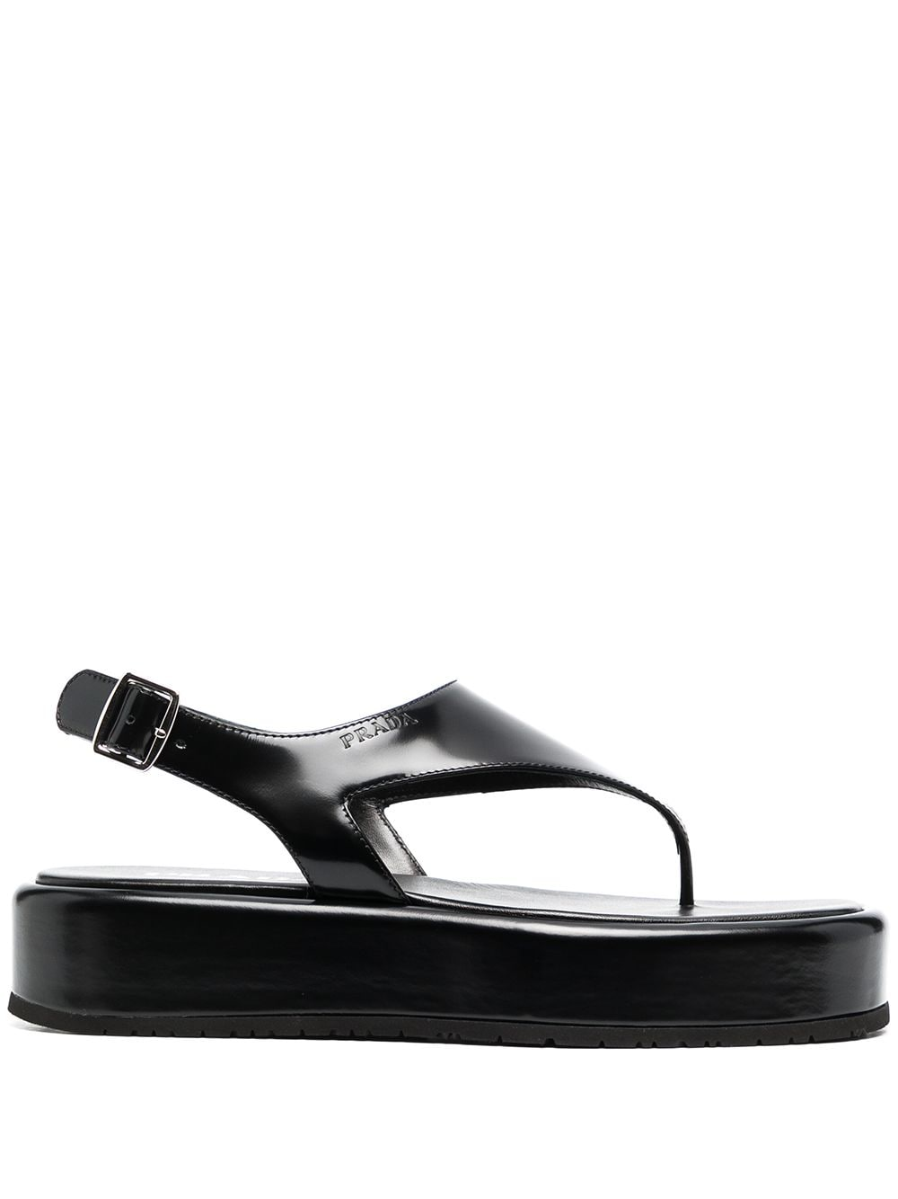 Prada platform leather sandals - Black von Prada