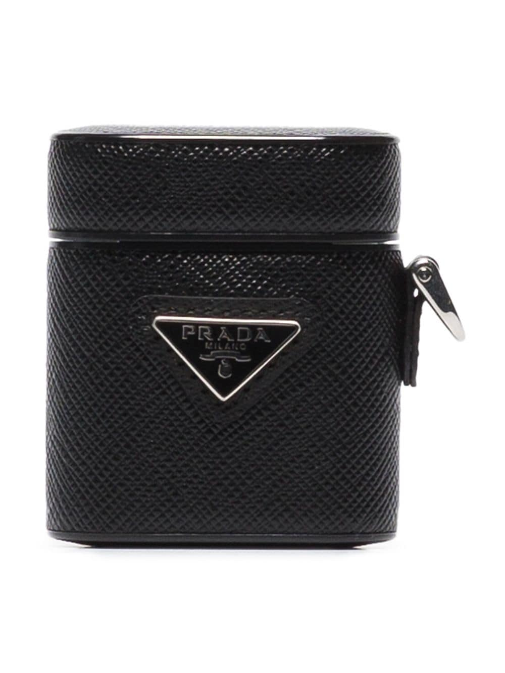 Prada triangle-logo leather AirPods case - Black von Prada