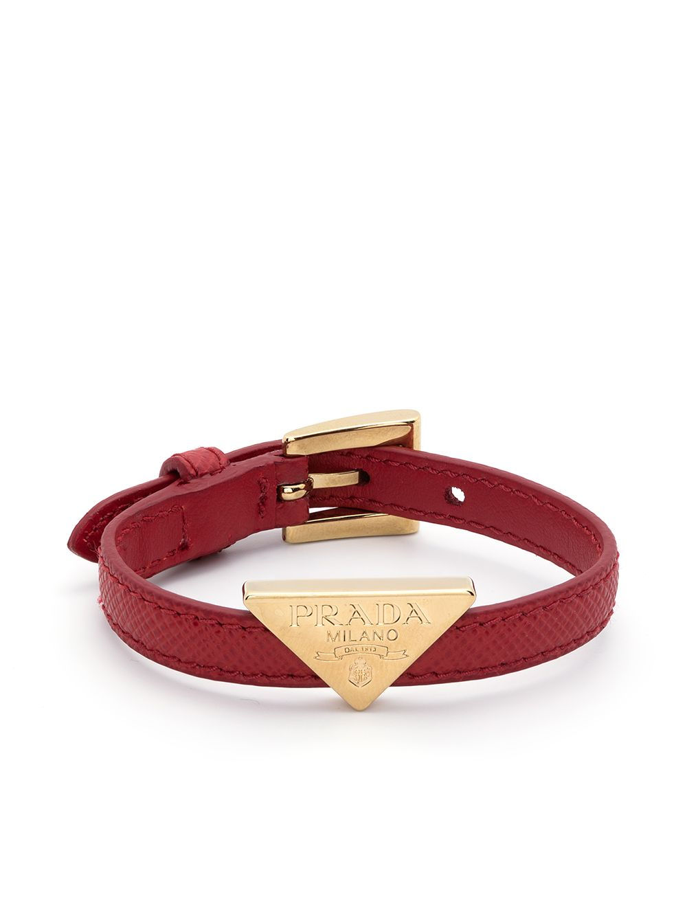 Prada triangle-logo leather bracelet - Red von Prada