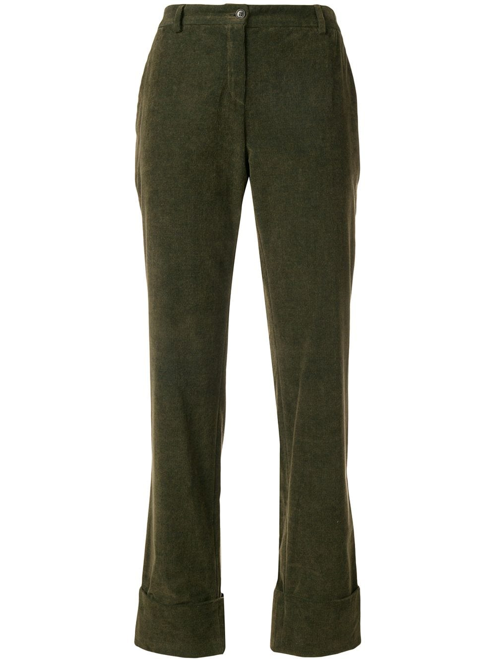 Romeo Gigli Vintage turn-up straight leg trousers - Green von Romeo Gigli Vintage