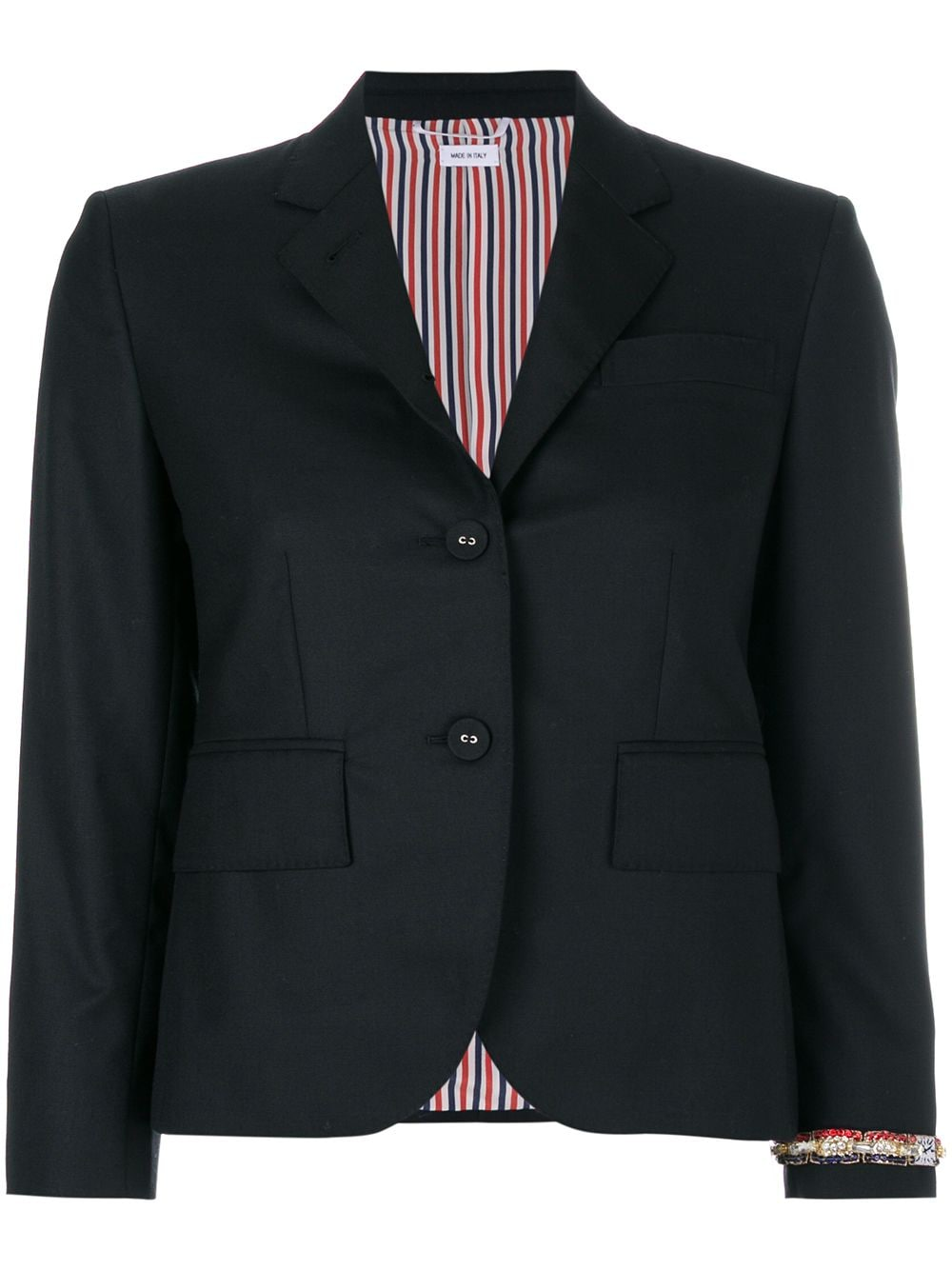 Thom Browne Classic Single Breasted Sport Coat With Wristwatch Applique & Combo Lapel In Super 120's Twill - Black von Thom Browne