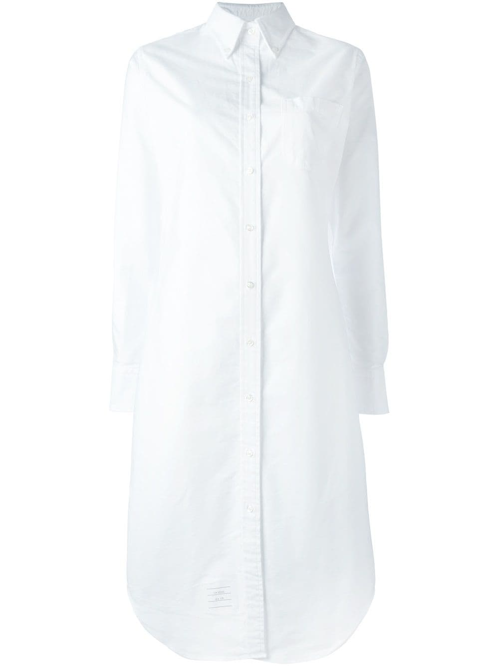 Thom Browne Long Sleeve Button Down Knee Length Shirtdress In Oxford - White von Thom Browne