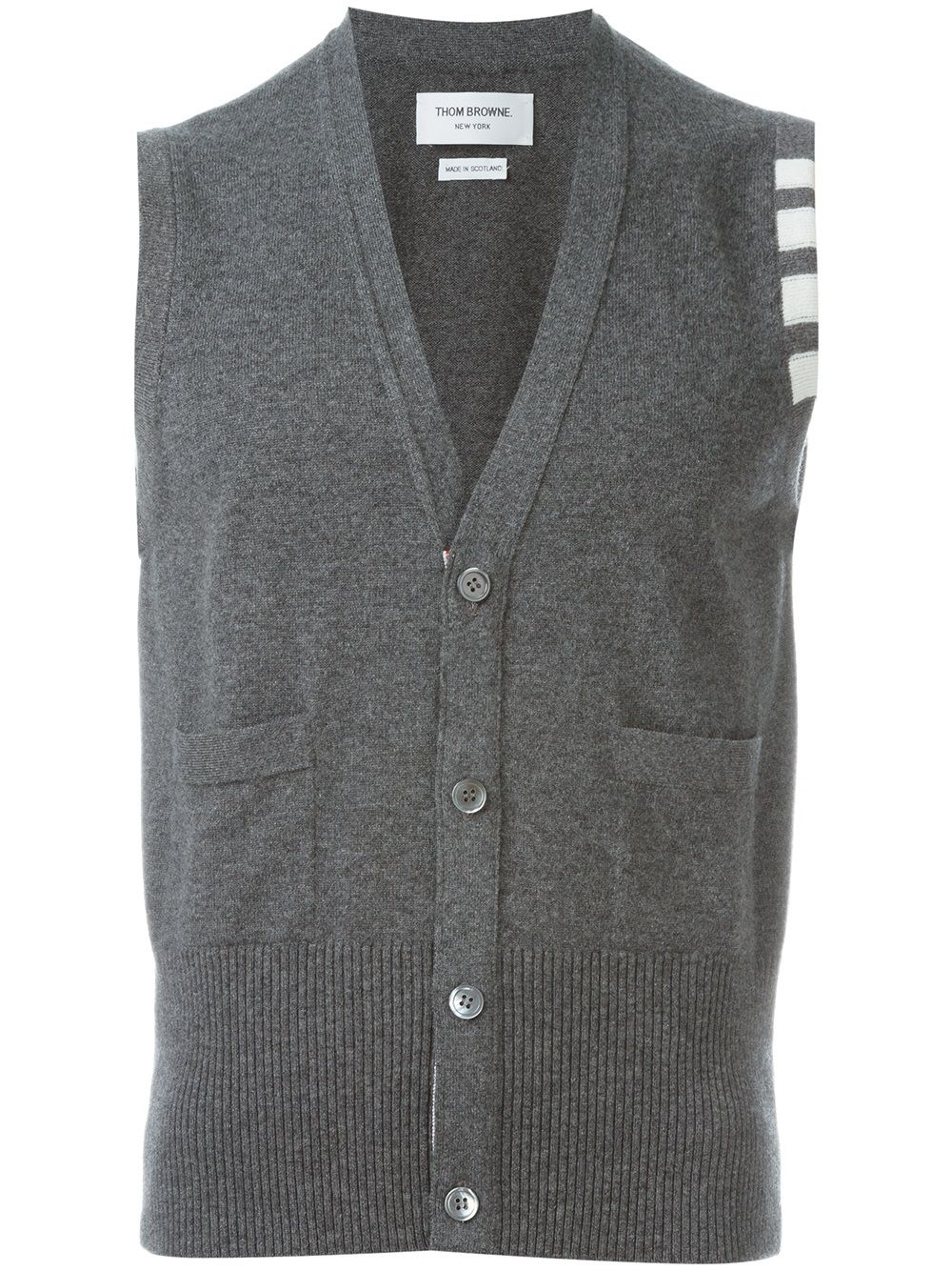 Thom Browne sleeveless buttoned cardigan - Grey von Thom Browne