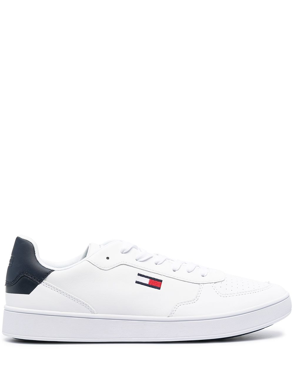 Tommy Jeans Essential logo-embroidered sneakers - White von Tommy Jeans