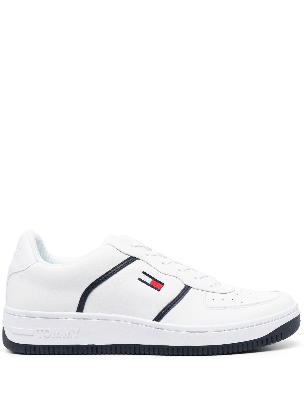 Tommy Jeans leather low-top sneakers - White von Tommy Jeans