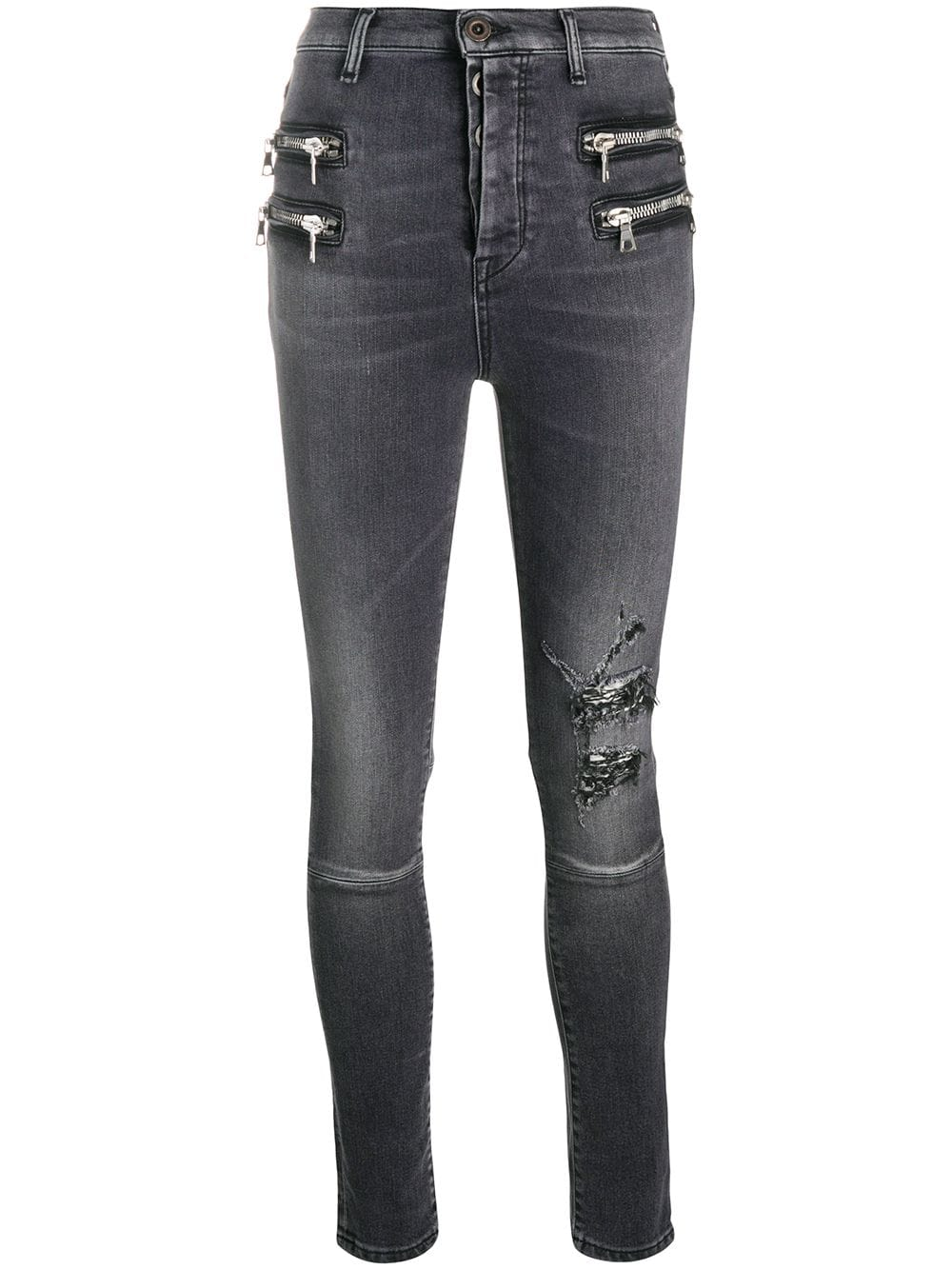 UNRAVEL PROJECT distressed-effect zip-detail denim jeans - Grey von UNRAVEL PROJECT