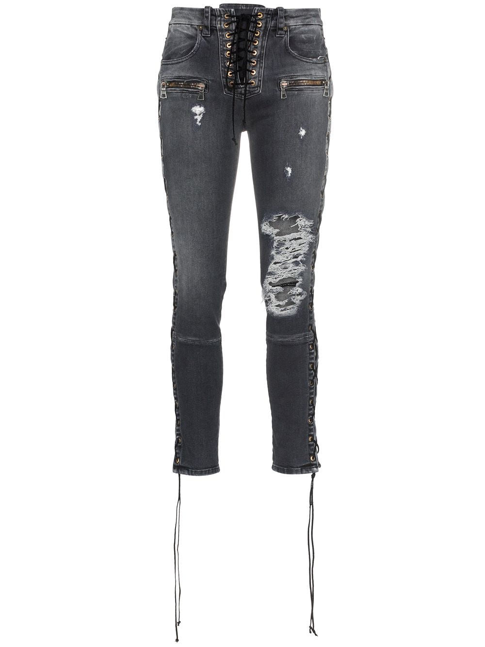 UNRAVEL PROJECT Skinny stonewash ripped skinny jeans - Grey von UNRAVEL PROJECT