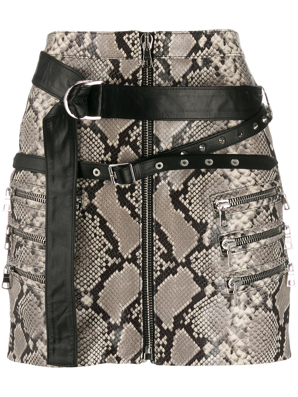 UNRAVEL PROJECT snakeskin print mini skirt - Grey von UNRAVEL PROJECT