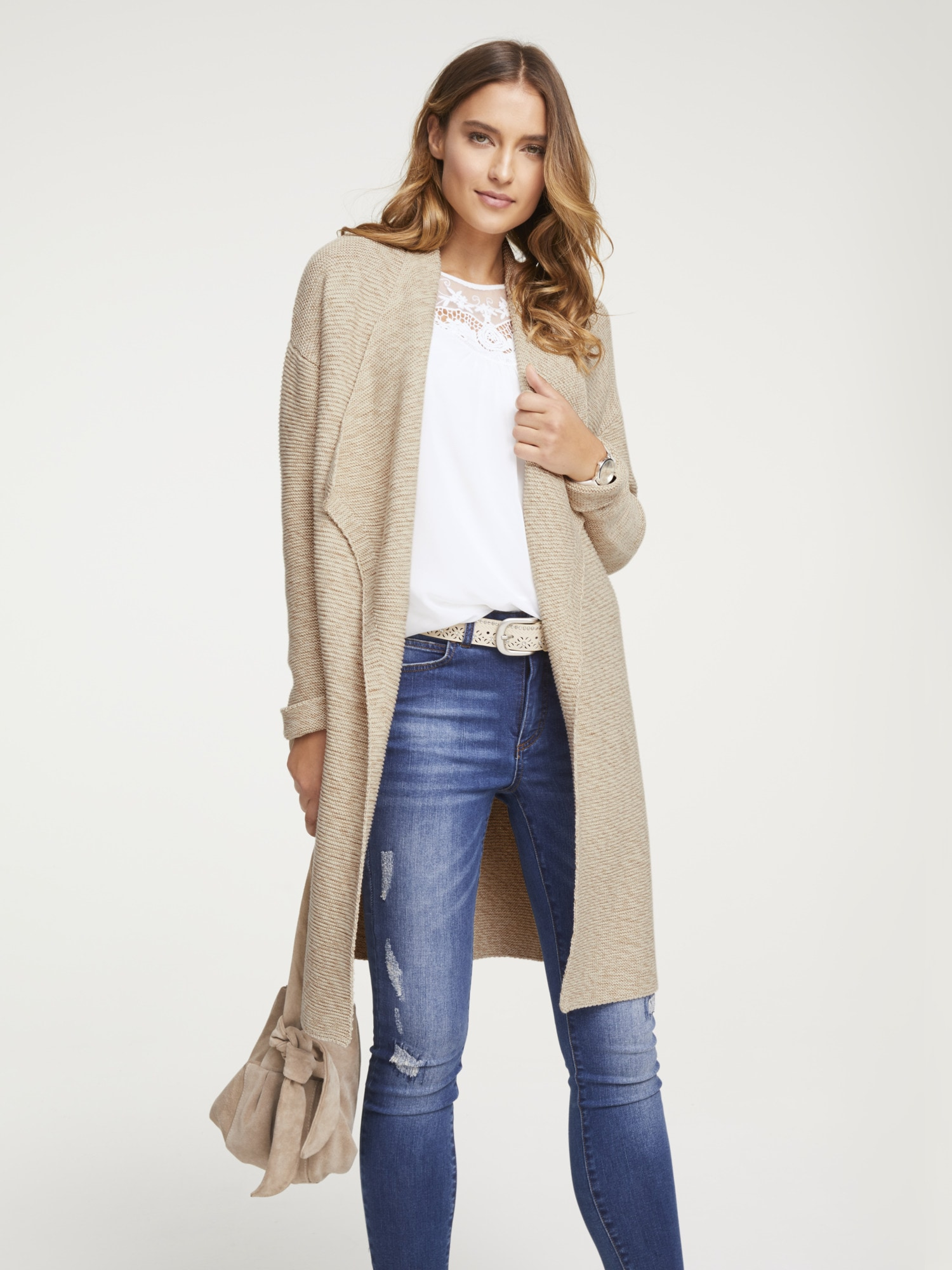 Longstrickjacke in Melange-Optik von LINEA TESINI by Heine